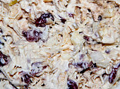 Cranberry chicken salad with mayonaise macro close up