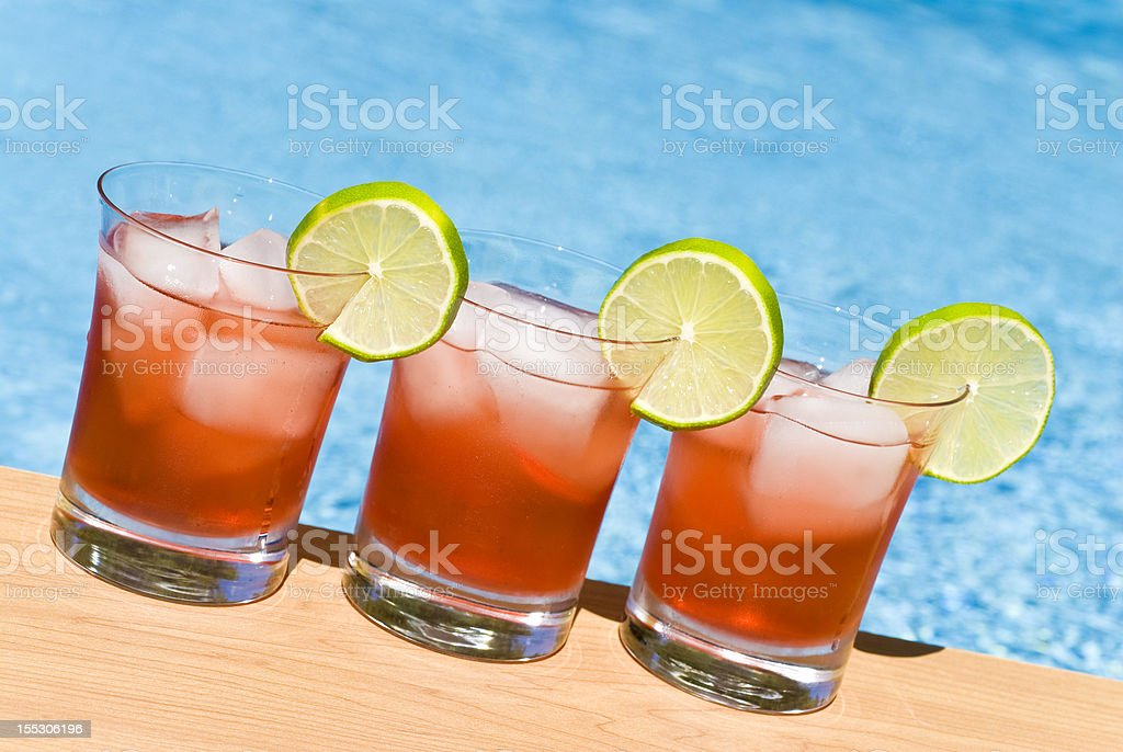 Cranberry Cocktail by the Pool royalty-free stock photo