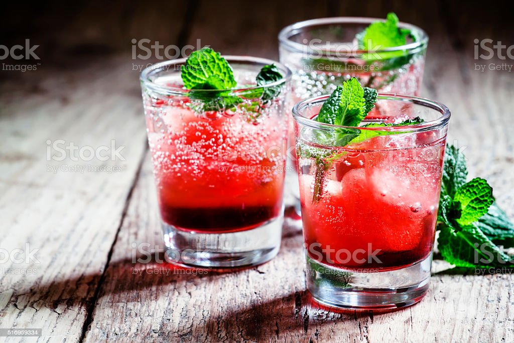 Cranberry cocktail Cape Codder with vodka and ice stock photo