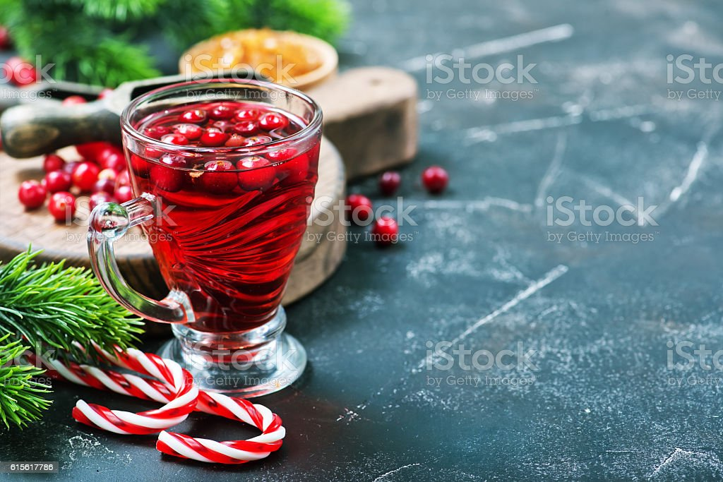 cranberry drink and berries stock photo