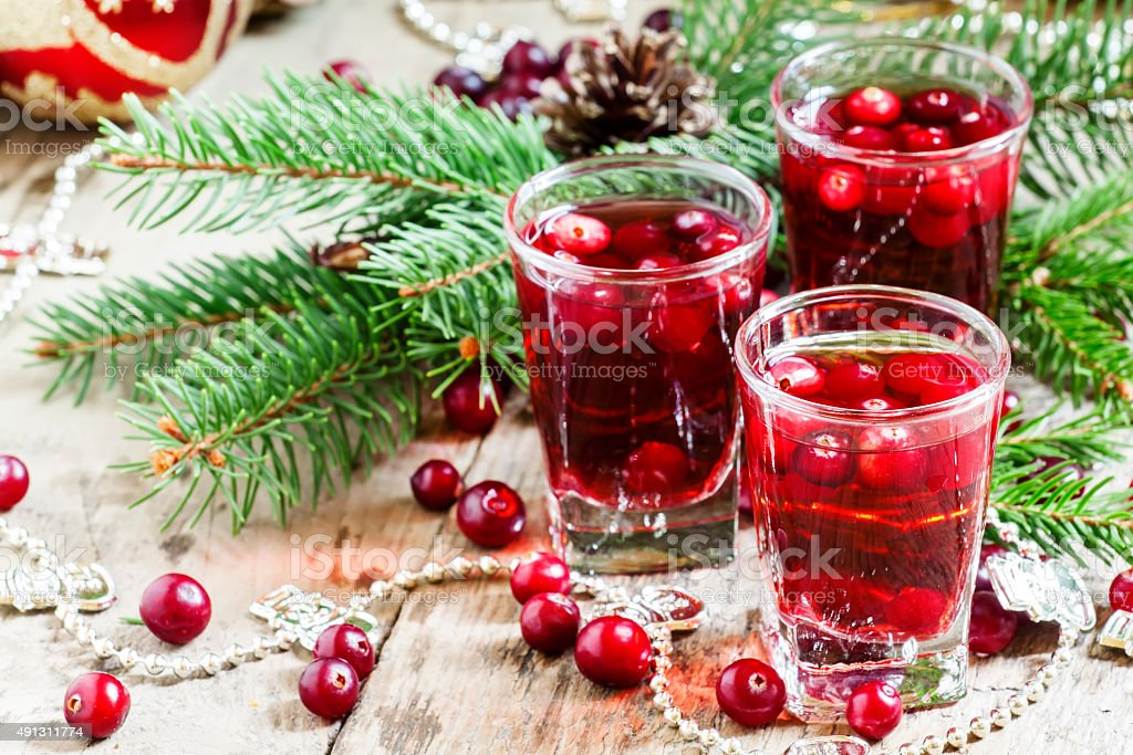 Cranberry drink on Christmas background stock photo