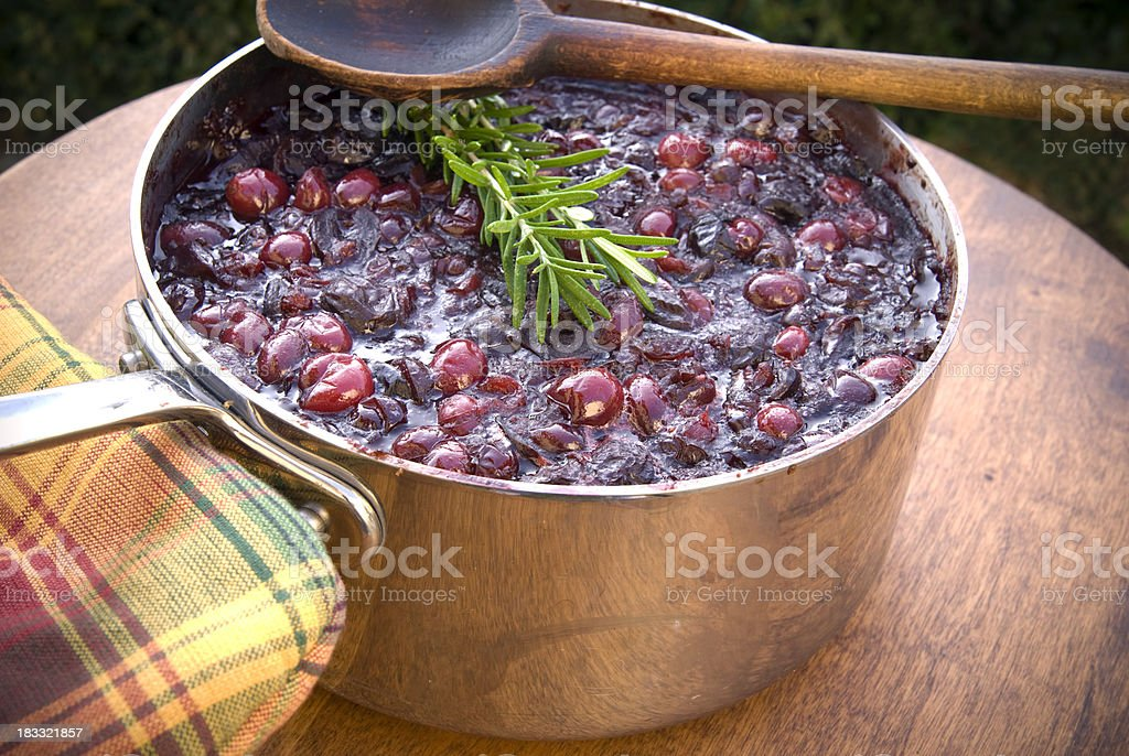 Cranberry Fruit Sauce Preparation; Cooking Thanksgiving & Christmas Dinner Food royalty-free stock photo
