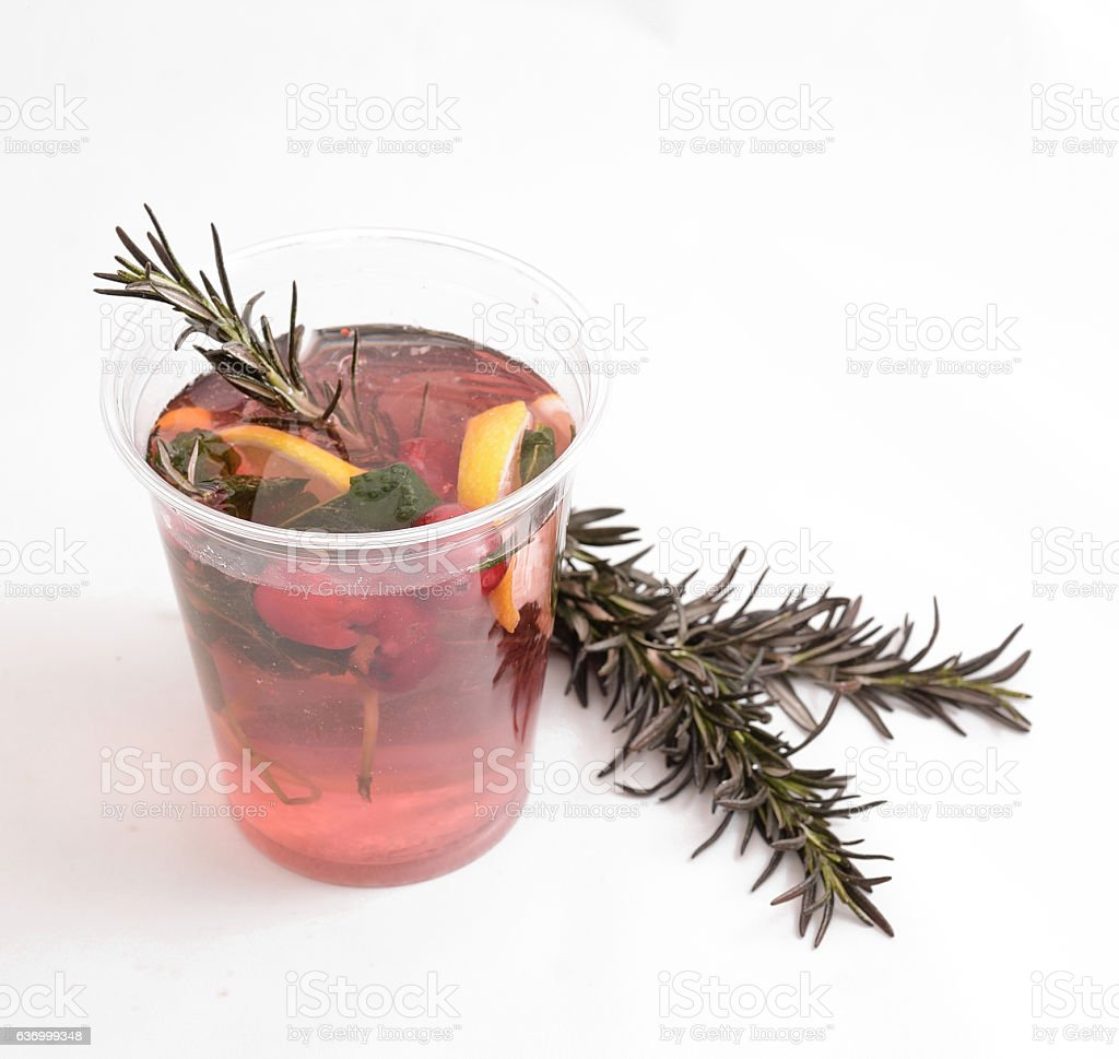 cranberry hot tea with vitamins for warmth in the winter stock photo