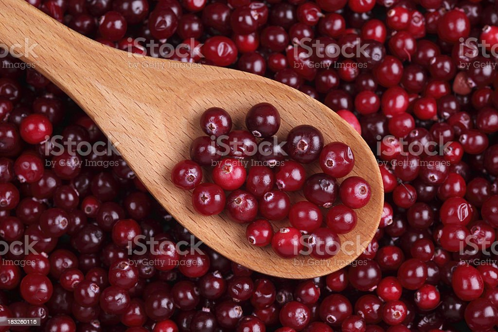 Cranberry in a wooden spoon royalty-free stock photo