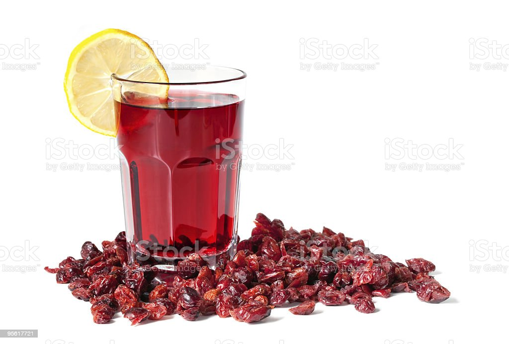 Cranberry Juice and Dried Cranberries stock photo