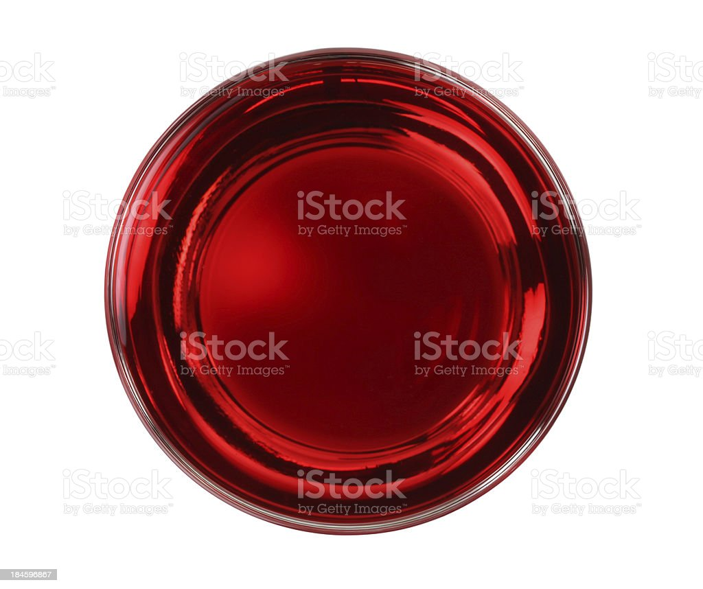 cranberry juice glass top isolated stock photo