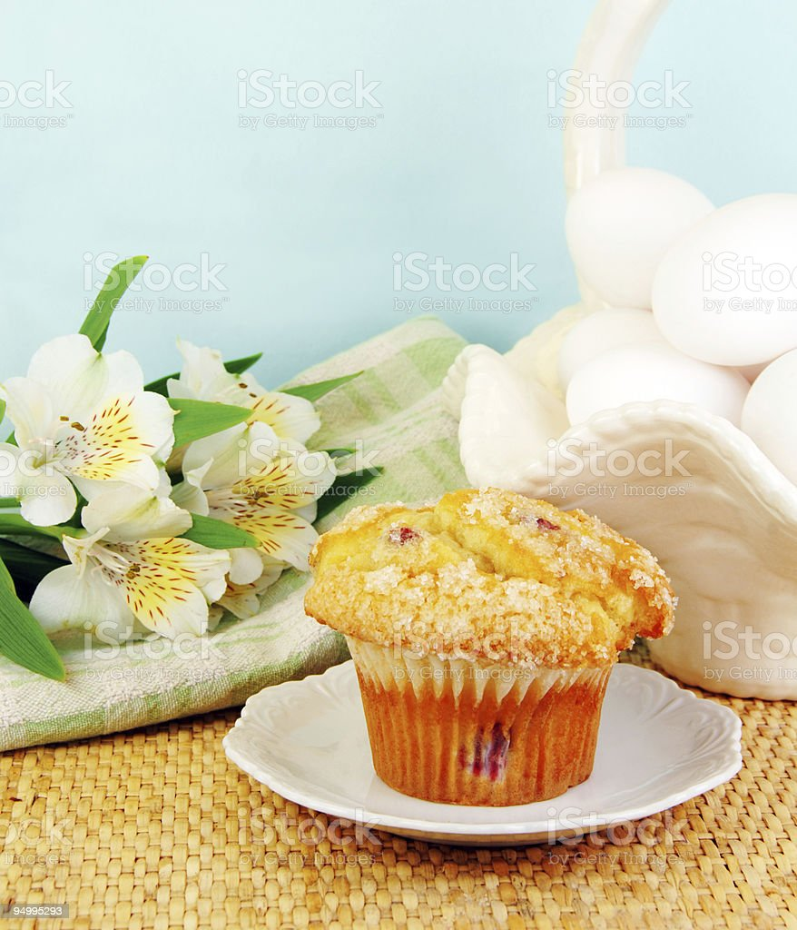 Cranberry Muffin with Fresh Flowers royalty-free stock photo