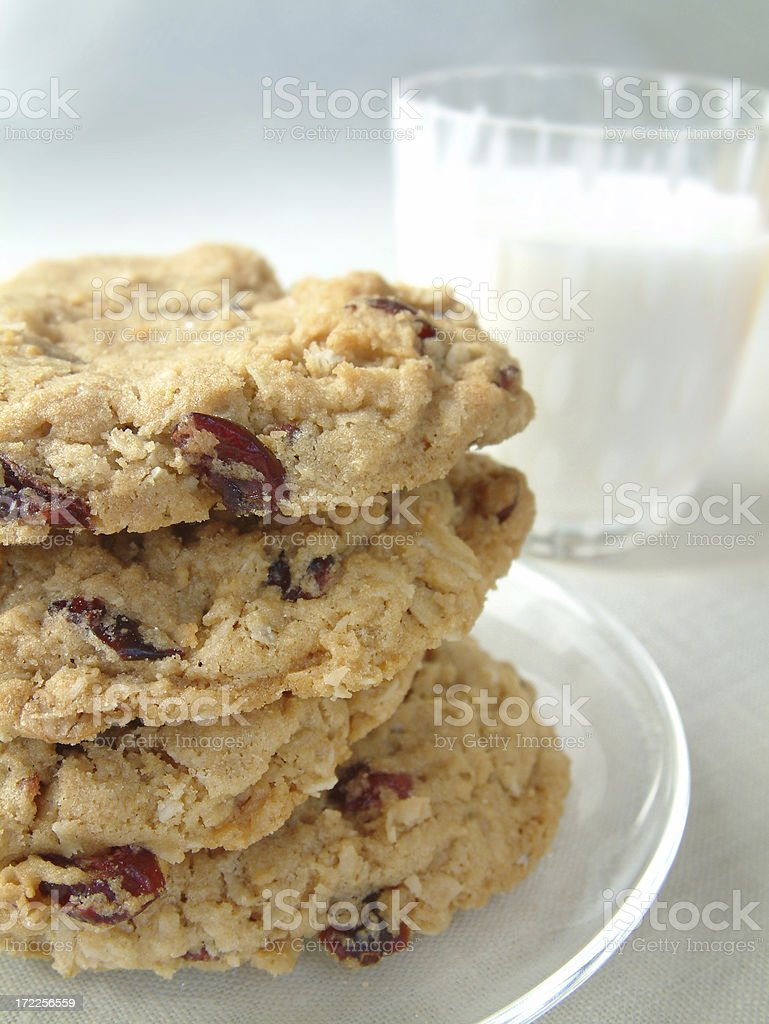 Cranberry oatmeal cookies and milk (more images like this) royalty-free stock photo