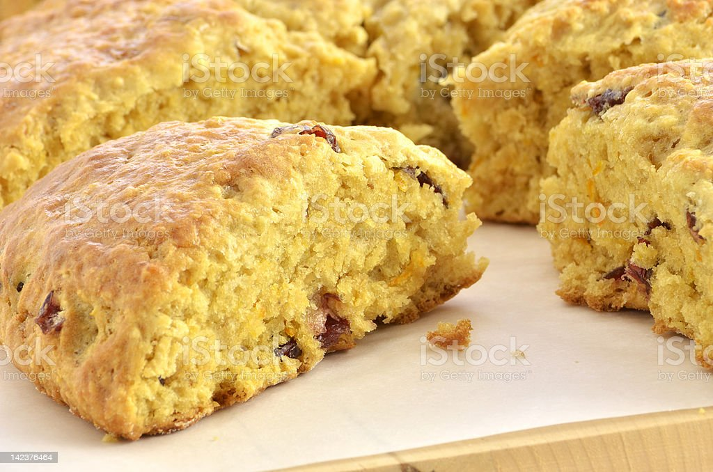 Cranberry orange scones stock photo