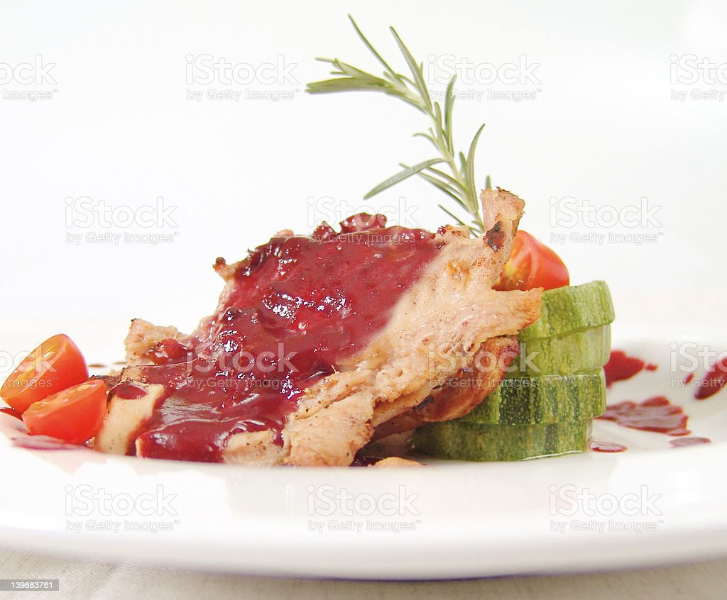 Cranberry pork chops royalty-free stock photo