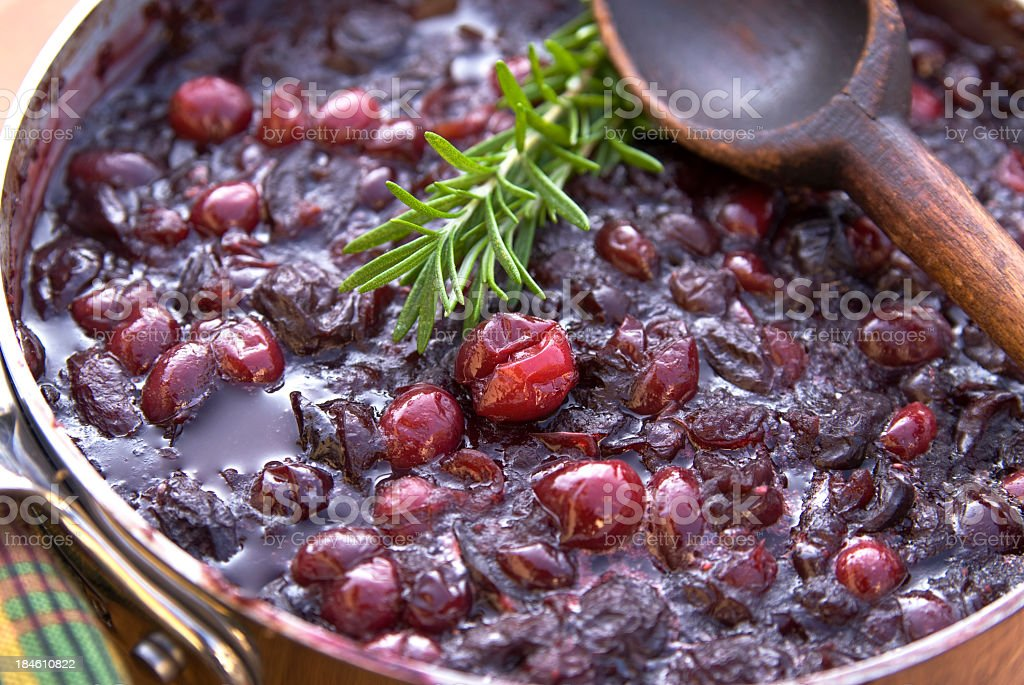 Cranberry sauce cooking for Christmas or Thanksgiving stock photo