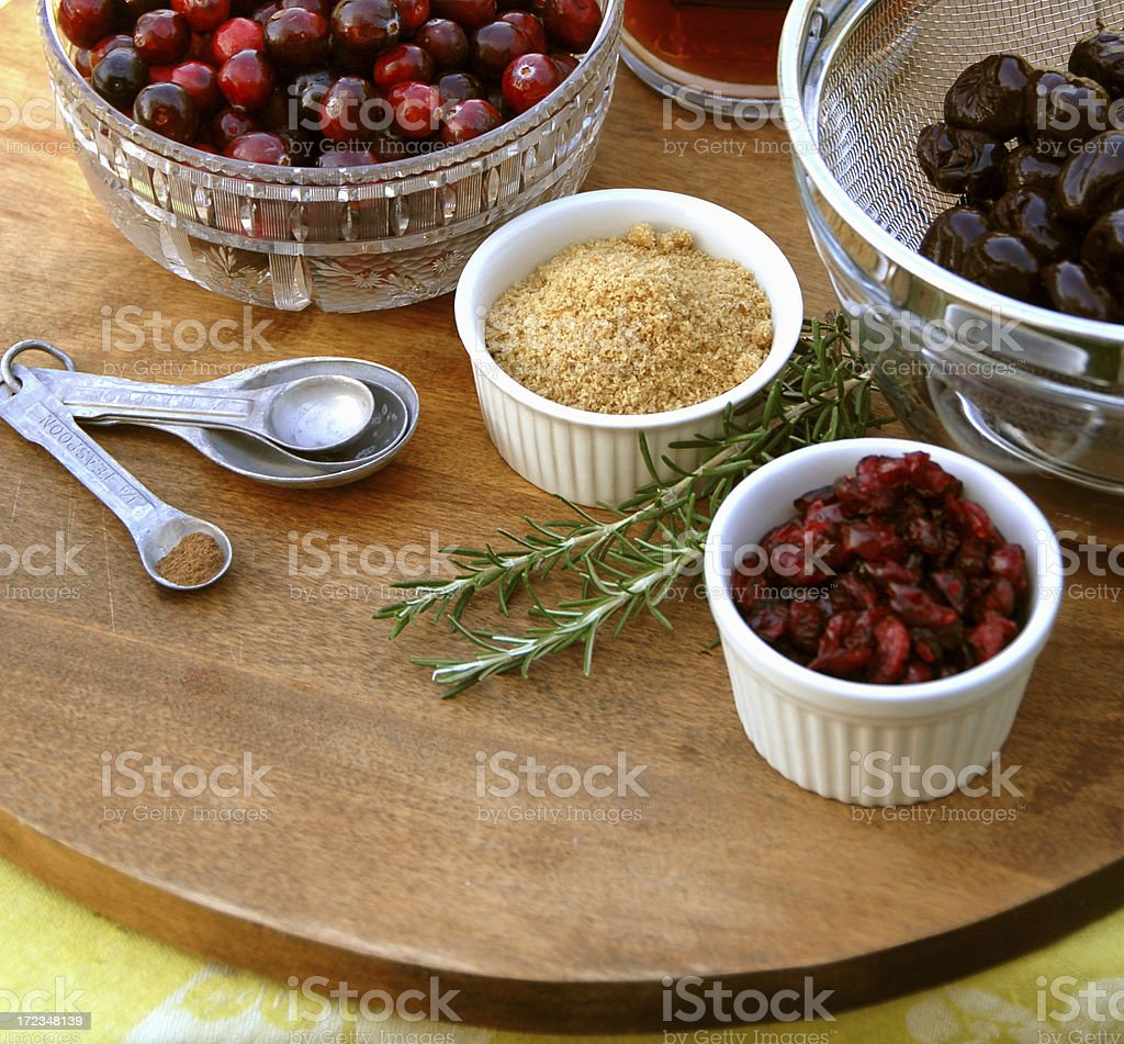 Cranberry Sauce Cooking Ingredients for Christmas, Thanksgiving Holiday Food stock photo