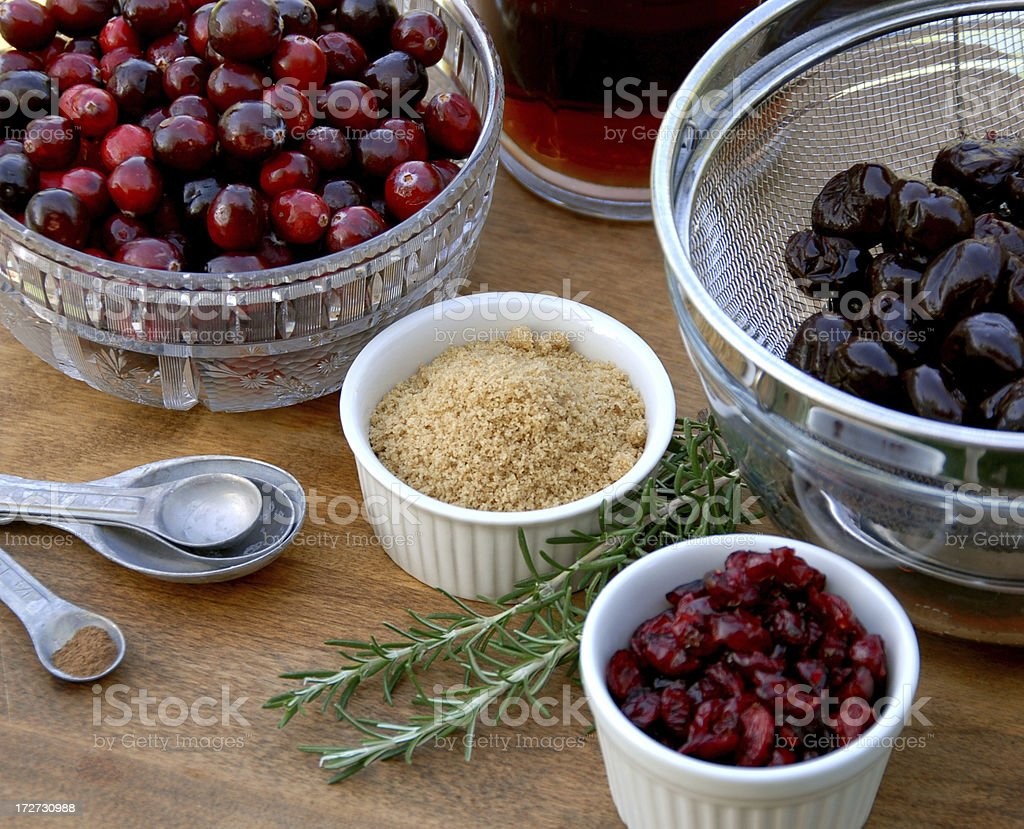 Cranberry Sauce Cooking Ingredients & Spices, Christmas & Thanksgiving, Holiday Food stock photo