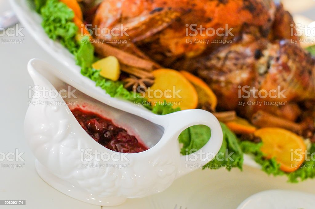 Cranberry sauce in a white cup stock photo