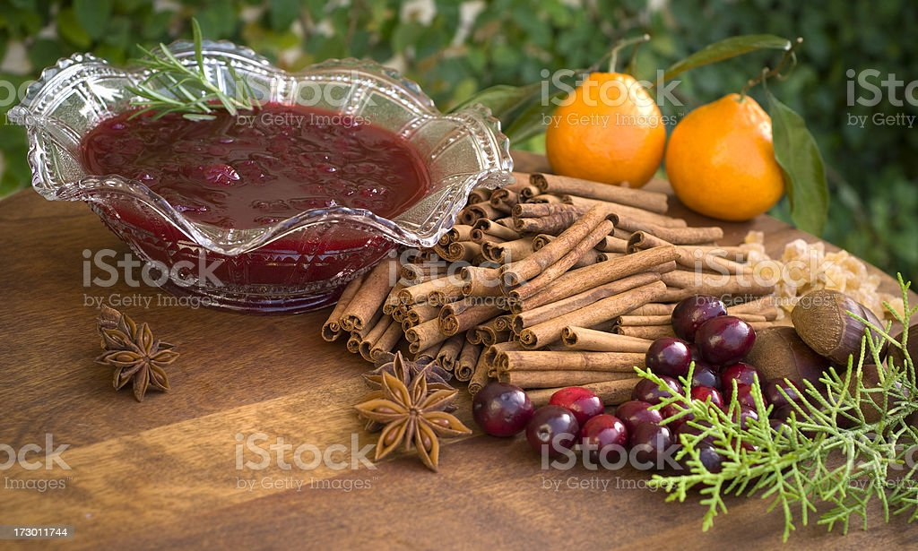 Cranberry Sauce Ingredients for Cooking Thanksgiving & Christmas Holiday Food stock photo