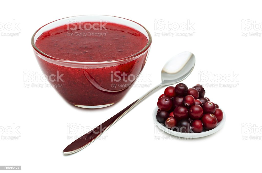Cranberry Sauce with spoon royalty-free stock photo