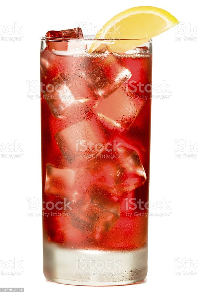 Cranberry Sea  Breeze Cocktail Isolated on White Background stock photo