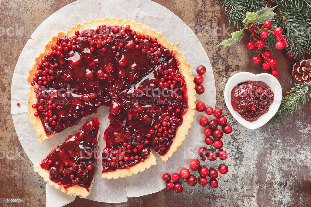 Cranberry Tart with browned butter crust stock photo