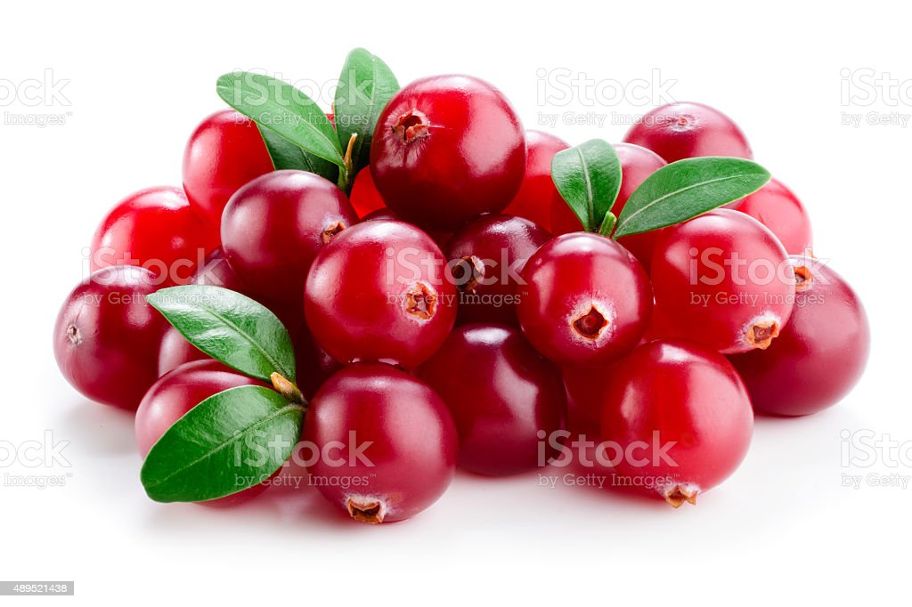Cranberry with leaves isolated on white. stock photo