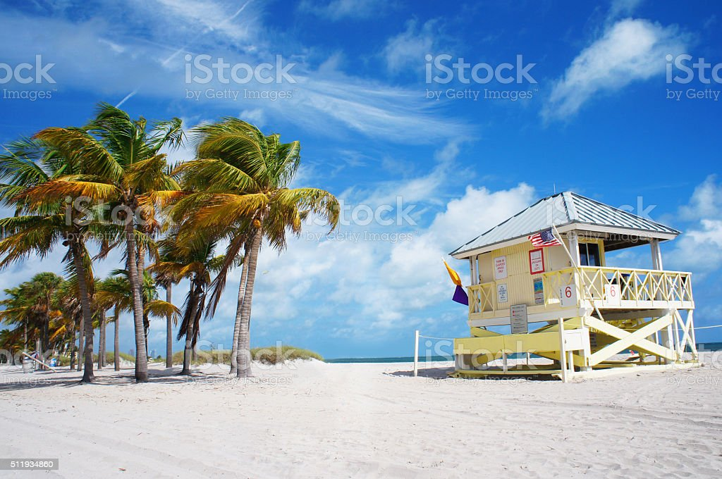 Crandon park Beach of Key Biscayne, Miami stock photo