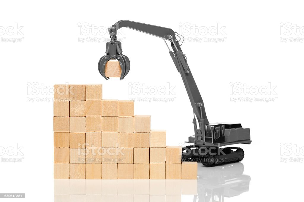 Crane and blank wooden  cubes stock photo