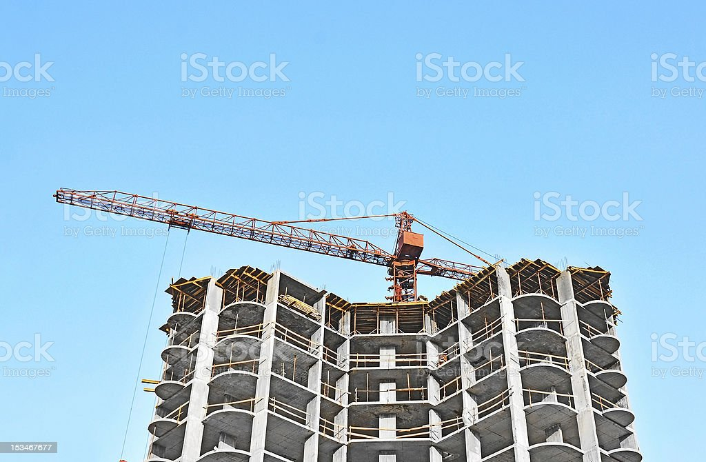 Crane and construction site royalty-free stock photo