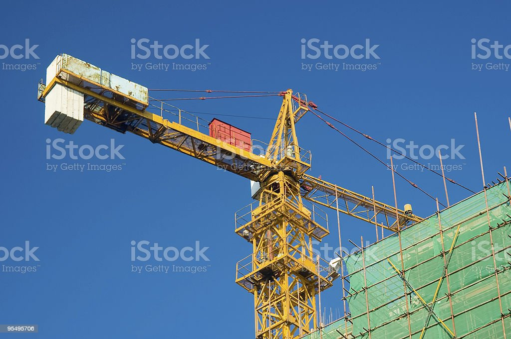 Crane and scaffolding royalty-free stock photo