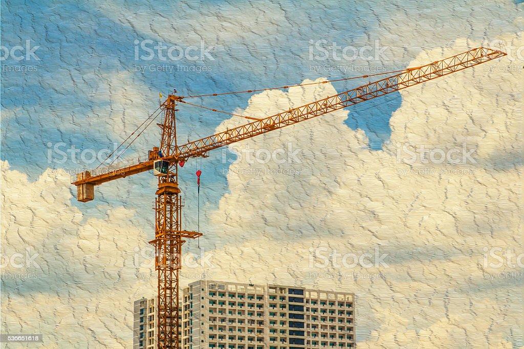 crane and sky stock photo