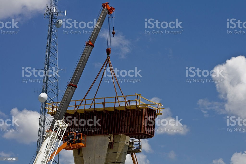 Crane Assembling Onramp Support Construction royalty-free stock photo