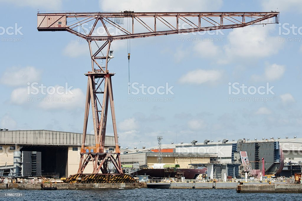 Crane at a dockyard royalty-free stock photo