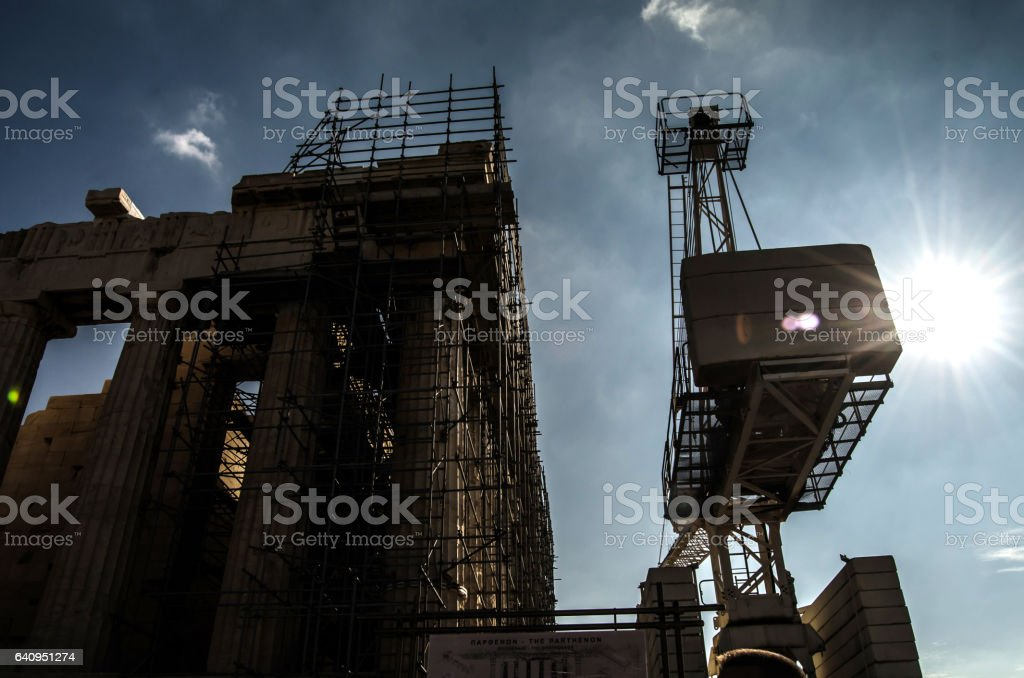 Crane at Acropolis stock photo