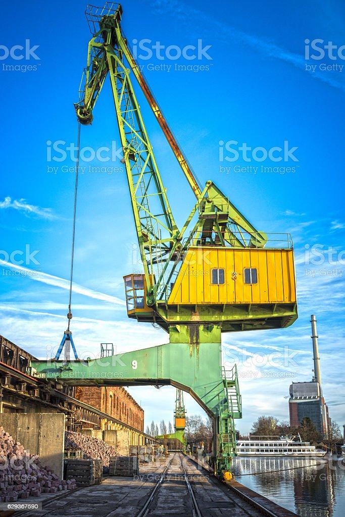 crane at harbor stock photo