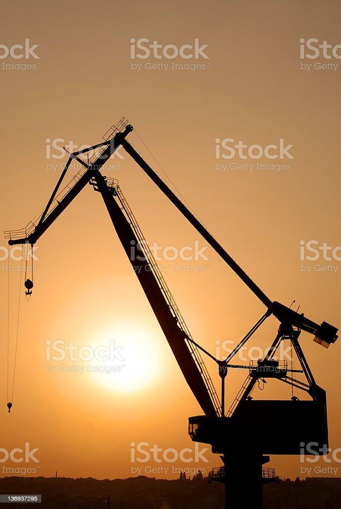 Crane at Sunset stock photo
