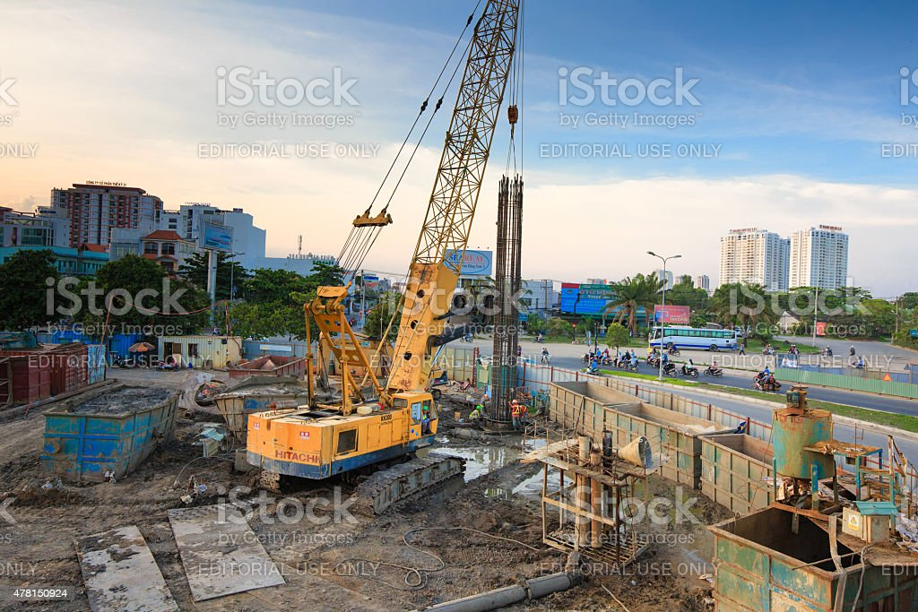 crane at the construction site for the metro abutment stock photo