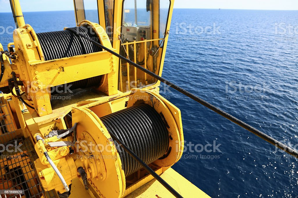 Crane construction on Oil and Rig platform for support stock photo