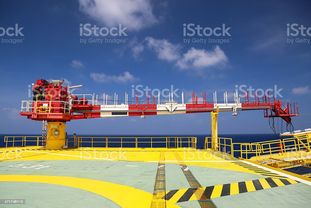 Crane construction on Oil and Rig platform stock photo
