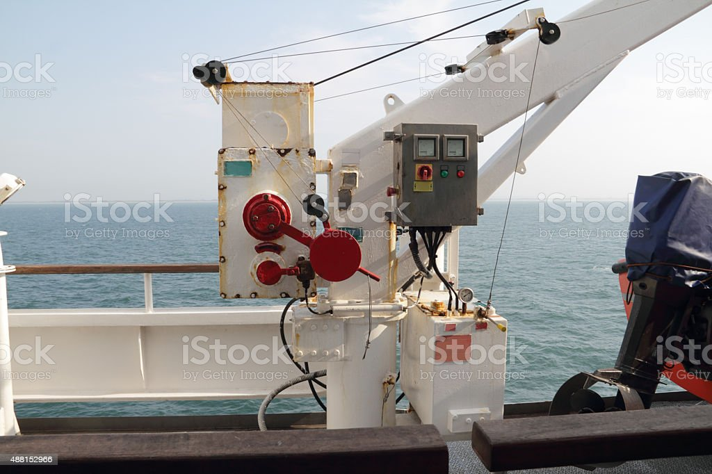 crane for lifeboat stock photo