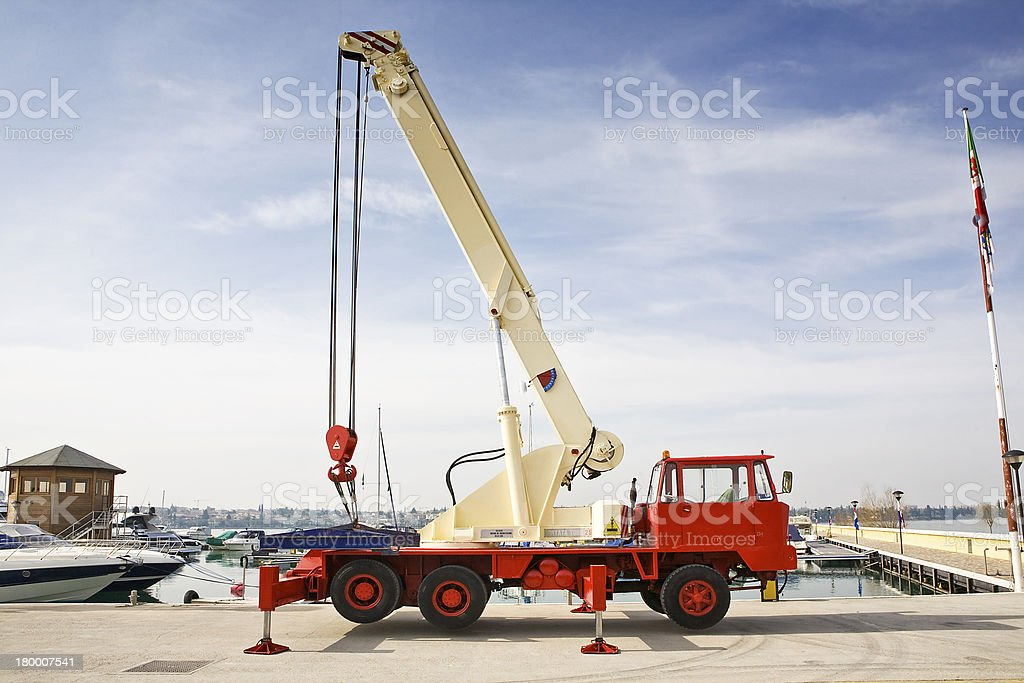crane for yacht stock photo