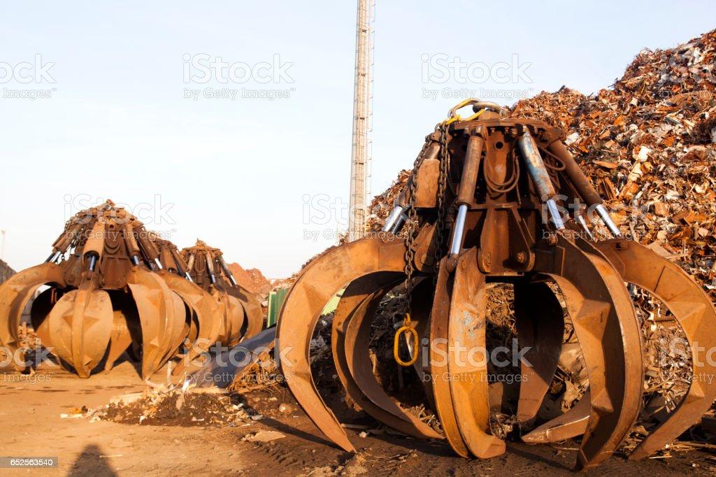 Crane Grabber at Industrial Area stock photo