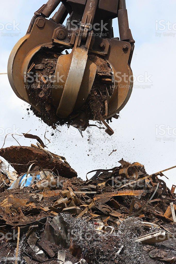 Crane grabber Loading steel royalty-free stock photo