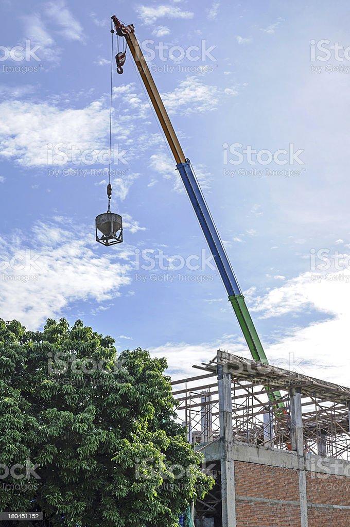 Crane hoist concrete bucket royalty-free stock photo