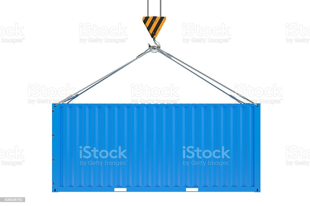 Crane hook and blue cargo container stock photo