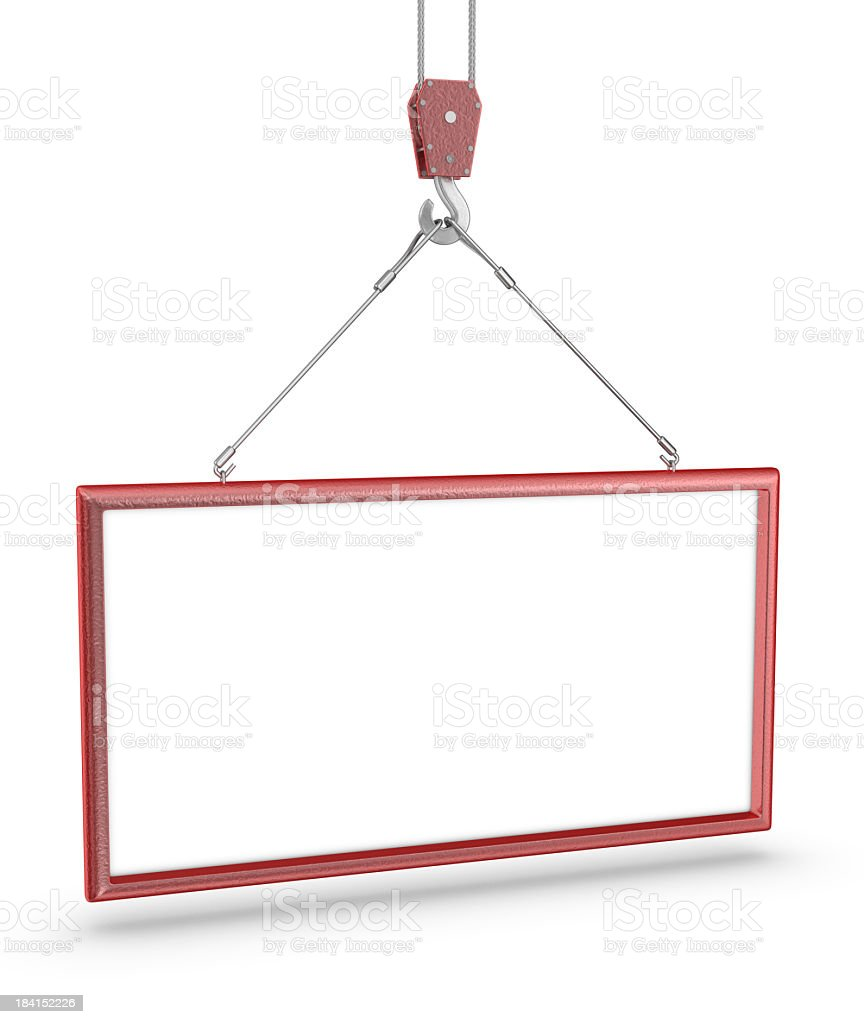 Crane Hook and White Sign royalty-free stock photo