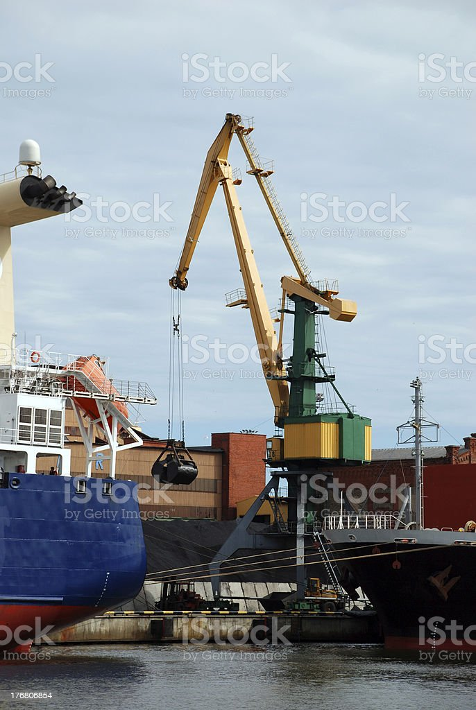 Crane in harbour royalty-free stock photo