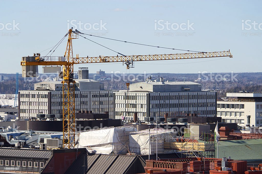 Crane in Helsinki royalty-free stock photo