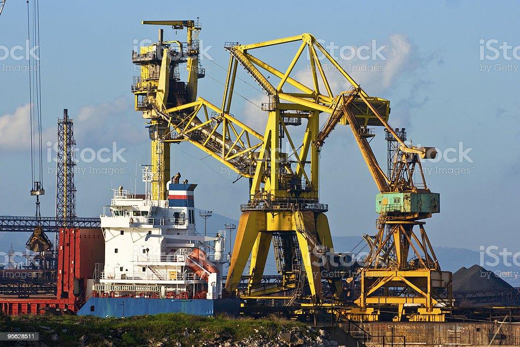 Crane in Piombino harbor, Italy. royalty-free stock photo