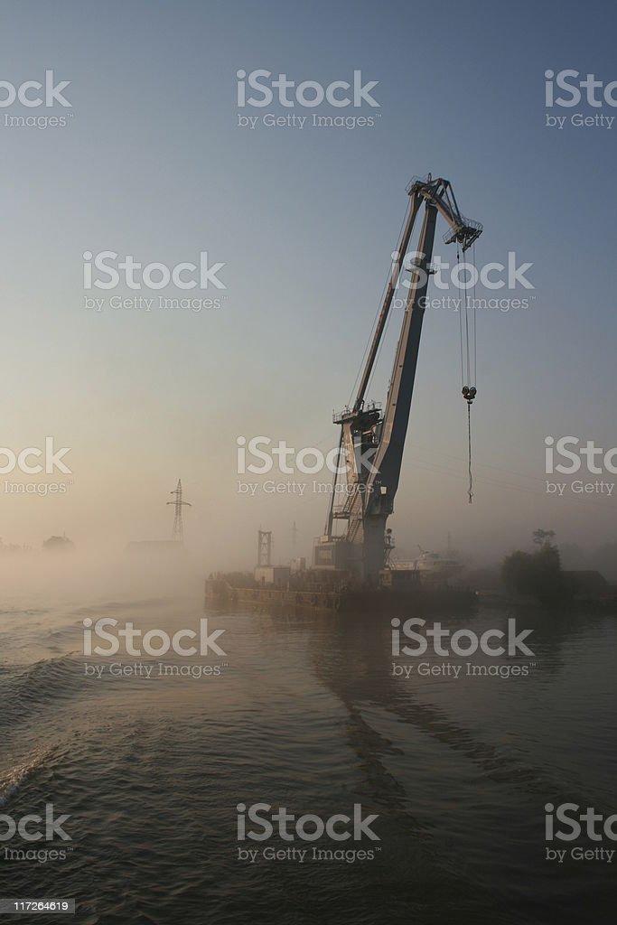 Crane in shipyard stock photo
