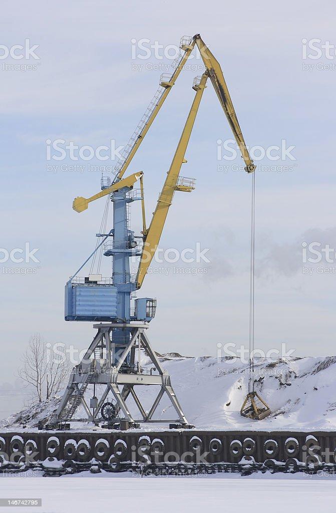 Crane in the winter. stock photo