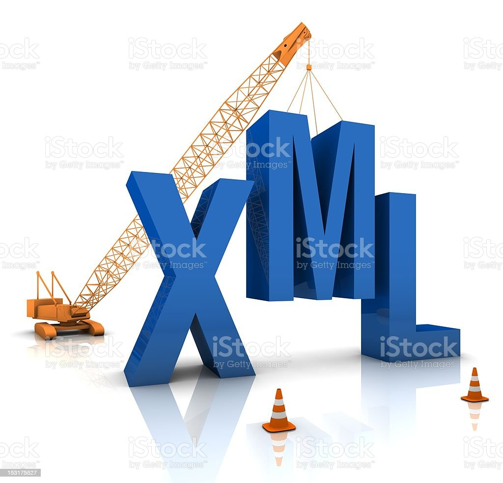Crane lining up XML letters in coding concept stock photo