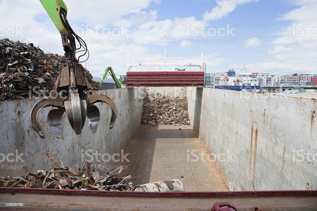 Crane Loading ship with steel royalty-free stock photo